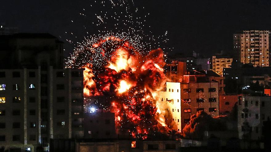 Image: An explosion during an Israeli airstrike in Gaza City