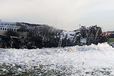The destroyed fuselage of the Aeroflot jet.