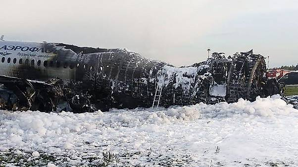 Image: The destroyed fuselage of the Aeroflot jet