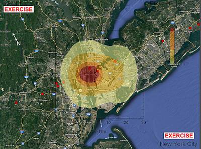 "A map shows the projected damage zones from a 60-meter asteroid impact in Manhattan. The inner, red zone is ""unsurvivable."" In the orange zone, most residential structures collapse and clothing would ignite. Second-degree burns would be expected in the outer zone."