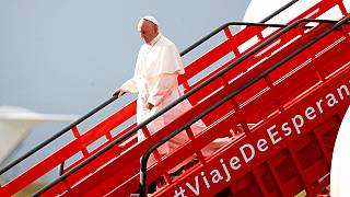 Pope arrives in Colombia