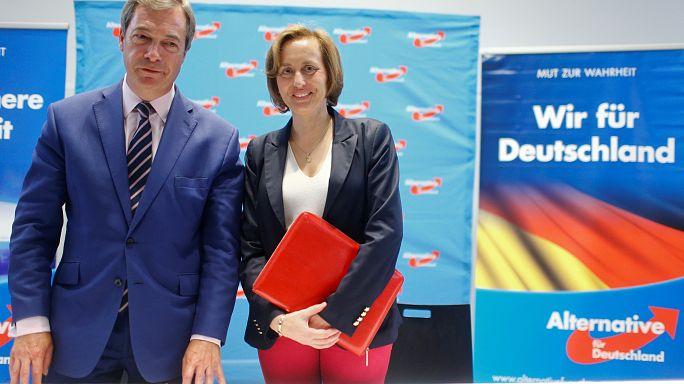 Farage egy berlini kampányrendezvényen