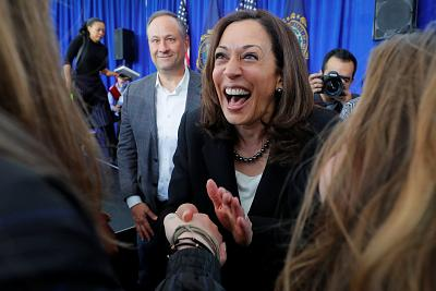 Democratic 2020 presidential candidate and Senator Kamala Harris, D-Ca, with her husband Douglas Emhoff at her side, greets audience members during a campaign stop at Keene State College in Keene, New Hampshire on April 23, 2019.