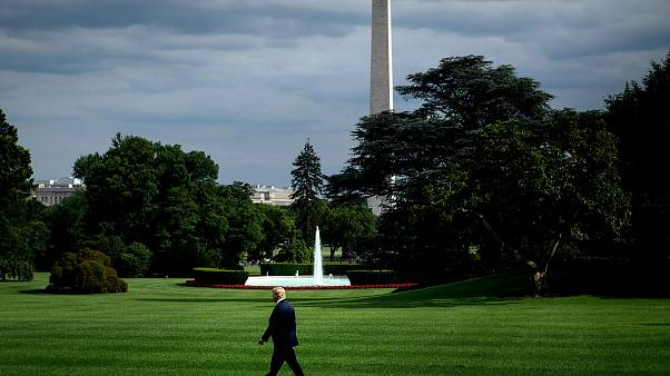 Image: President Donald Trump walks to Marine One on the South Lawn of the