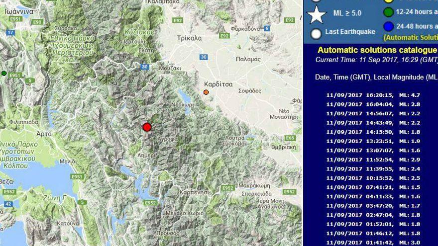 Ισχυρός σεισμός κοντά στην Καρδίτσα