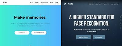 Ever\'s website, left, versus Ever AI.
