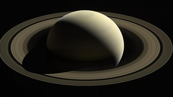 Cassini on its final dive towards Saturn
