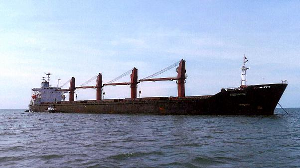 """Image:  The North Korean ship, """"Wise Honest."""""""