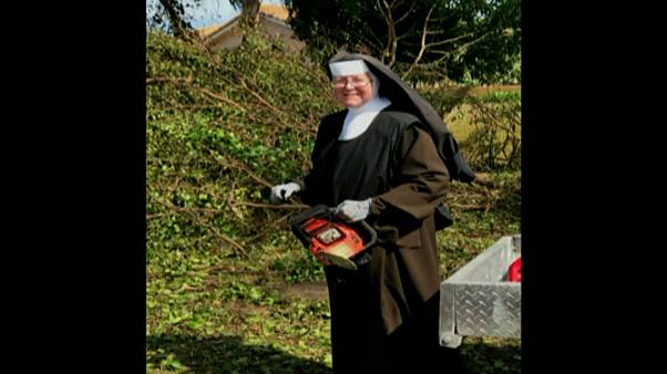 Chainsaw-wielding nun cleans up after Irma