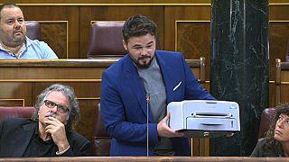 """Rufián interpela al Gobierno español con la """"Samsung republicana"""""""