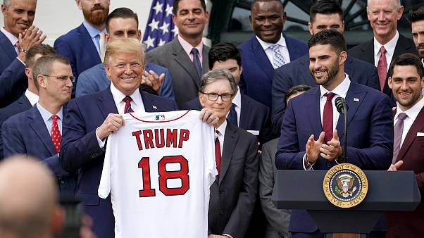 Image: U.S. President Trump welcomes the Boston Red Sox at the White House