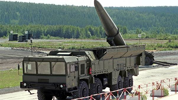 """Image: Russian missile complex """"Iskander"""" on display during a military equi"""