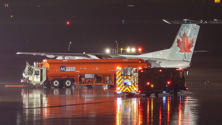 Image: An Air Canada plane came into contact with fuel truck at Toronto Pea