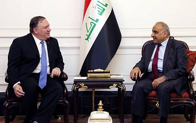 Iraqi Prime Minister Adel Abdul Mahdi, right, during his meeting with U.S. Secretary of State Mike Pompeo in the capital Baghdad on May 8, 2019.