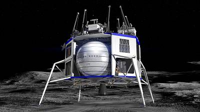 The Blue Moon lander resembles a bigger, boxier cousin of the lunar modules used during NASA\'s Apollo program.
