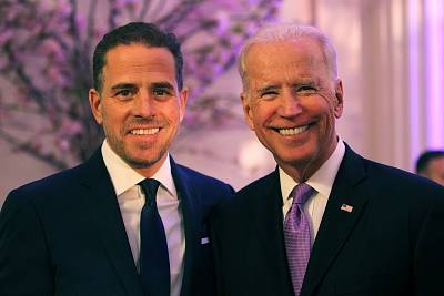 Hunter Biden and Joe Biden attend the World Food Program USA\'s Annual McGovern-Dole Leadership Award Ceremony at Organization of American States on April 12, 2016 in Washington, DC.