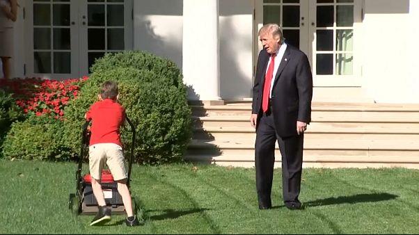 شاهد: طفل يقص عشب حديقة البيت الأبيض.. وترامب يراقب ويداعب
