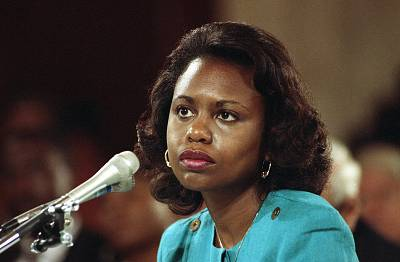 Law professor Anita Hill testifies before the Senate Judiciary Committee on Oct. 11, 1991.