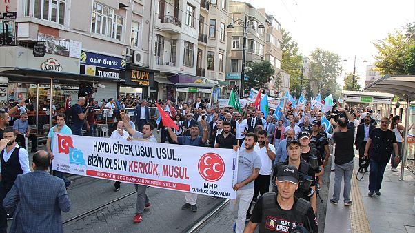 İstanbul'da 'Kerkük Türk'tür Türk Kalacak' yürüyüşü