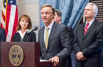 Republican Gov. Bill Haslam speaks at a press conference at the state Capitol in Nashville, Tennessee, on Dec. 1, 2015, about his plan to grant more autonomy to six public universities in the Tennessee Board of Regents system.