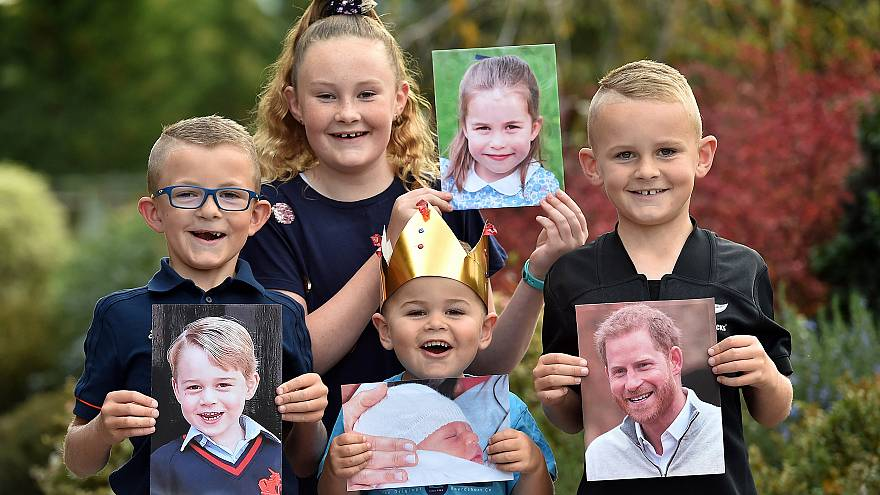 Image: Putting on their best royal poses are (from left) George, Charlotte,