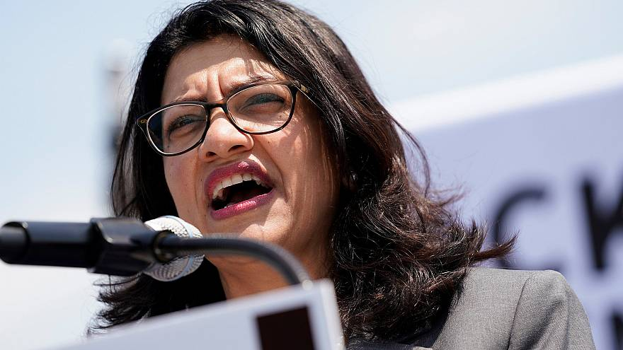 Image: U.S. Rep. Rashida Tlaib (D-MI) speaks at a rally calling on Congress