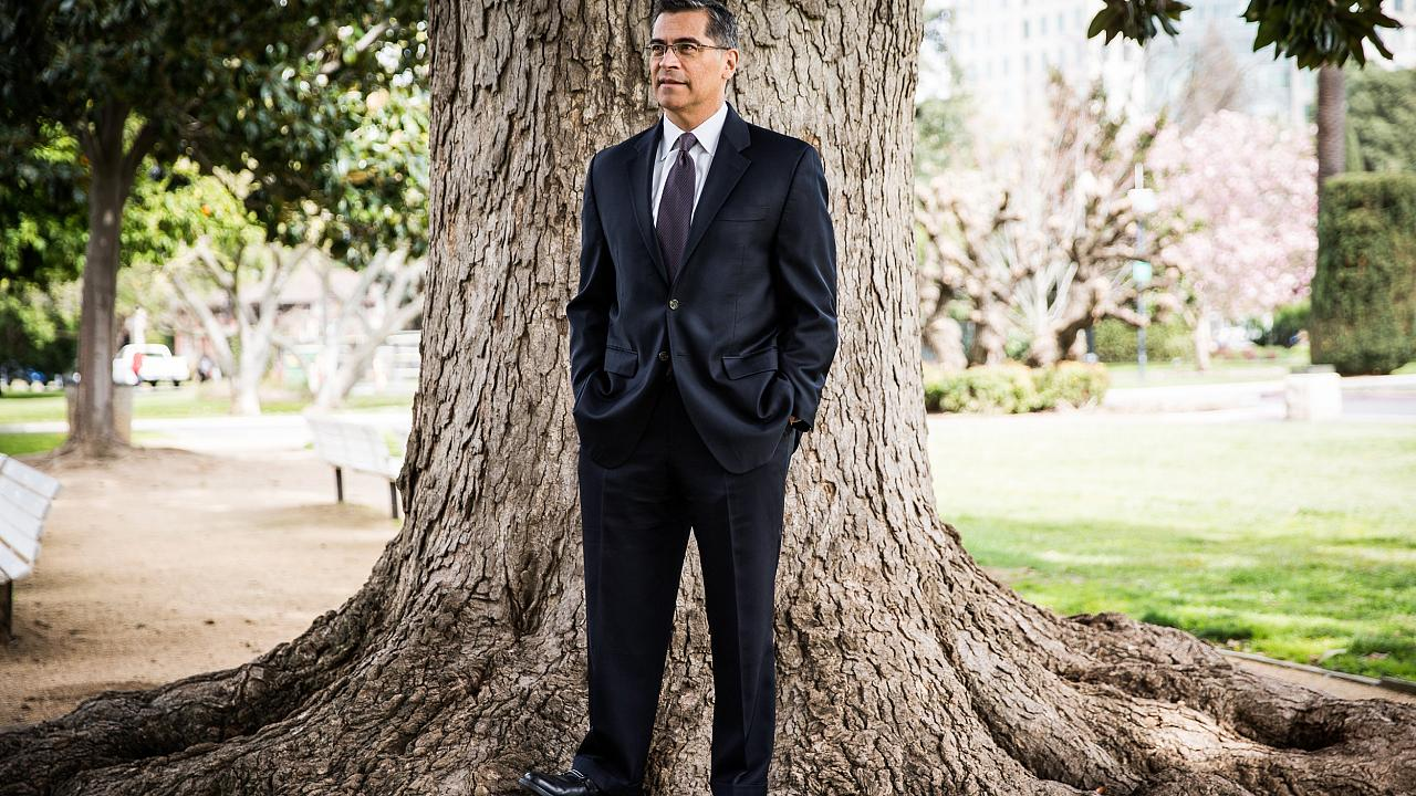 Image: California Attorney General Xavier Becerra in Sacramento on March 9,