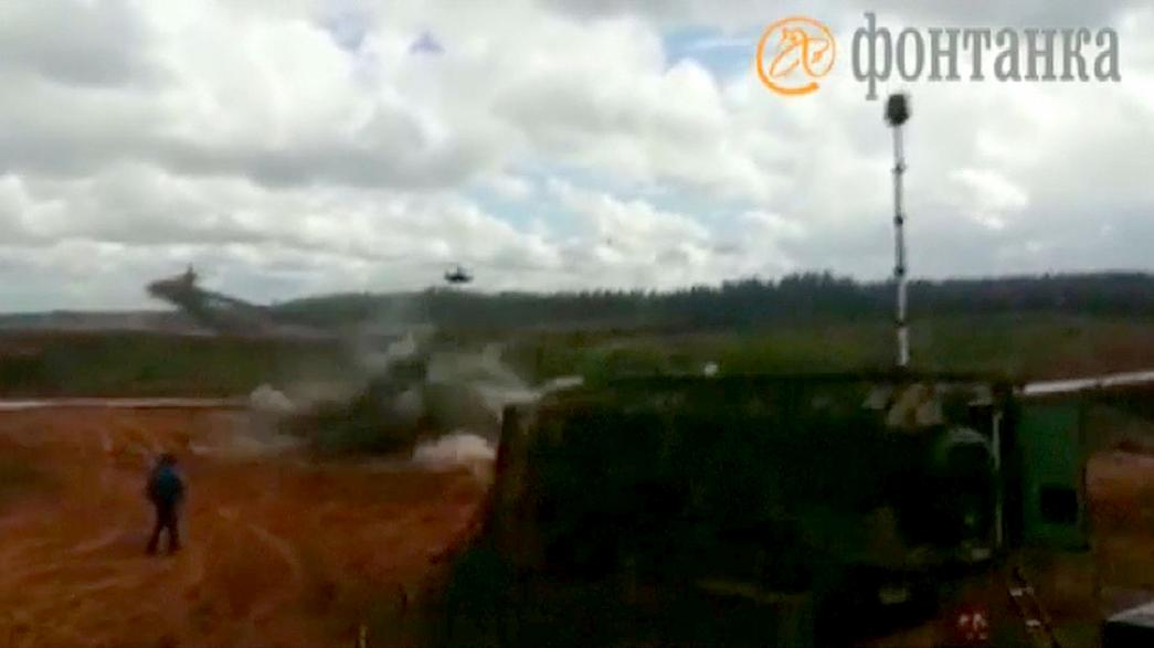 Helicopter 'fires on bystanders' at Russia's Zapad military exercise