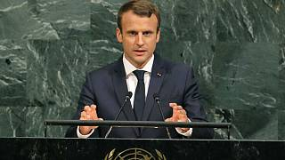 French President Emmanuel Macron speaks before the United Nations General Assembly