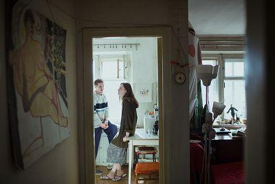 Alisa Gorshenina speaks with her husband, Sergey, in their kitchen in Nizhny Tagil, Russia.