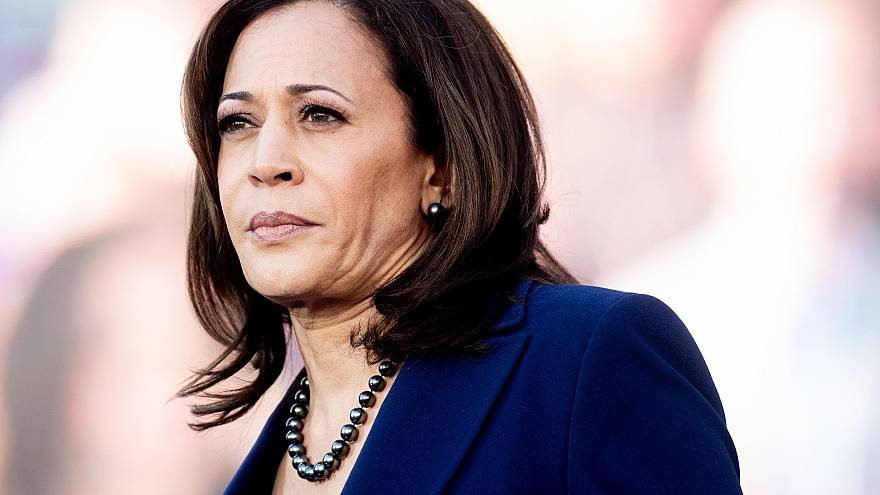 Image: Sen. Kamala Harris, D-Calif., looks on during a rally launching her