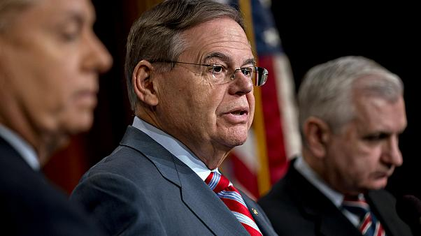 Image: Sen. Bob Menendez, D-NJ, speaks at a news conference at the Capitol