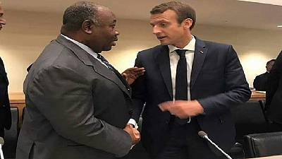 Assemblée générale de l'ONU : première poignée de main entre Ali Bongo et Emmanuel Macron