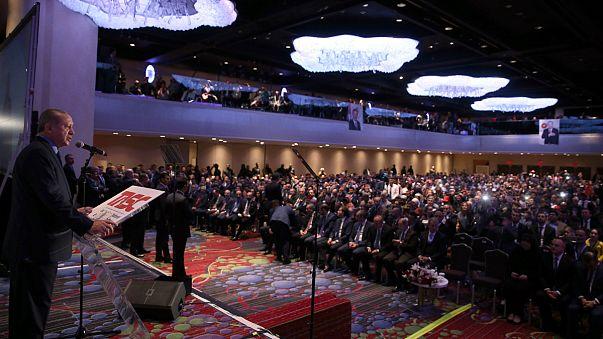 Erdoğan'ın New York konuşmasında olay çıktı