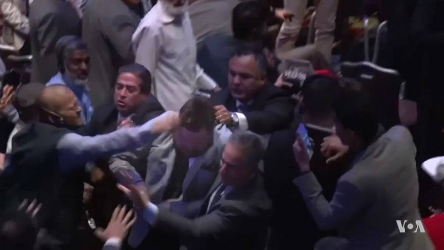 شاهد: صراخ وعراك أثناء خطاب لأردوغان في نيويورك