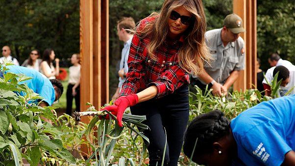 Melania Trump dans le jardin de Michelle Obama