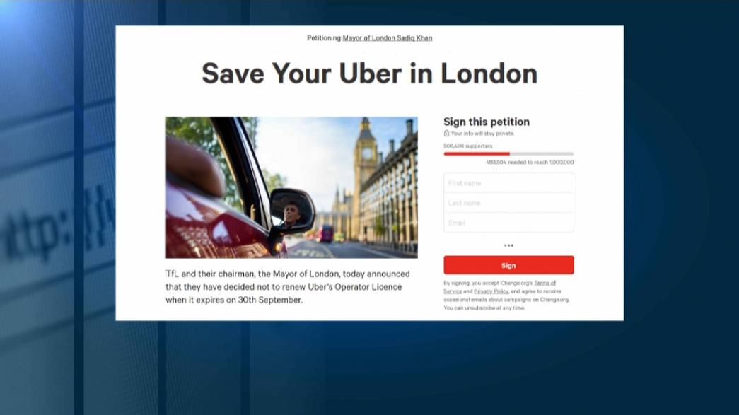 Half a million Londoners sign Uber's petition to stay on the roads