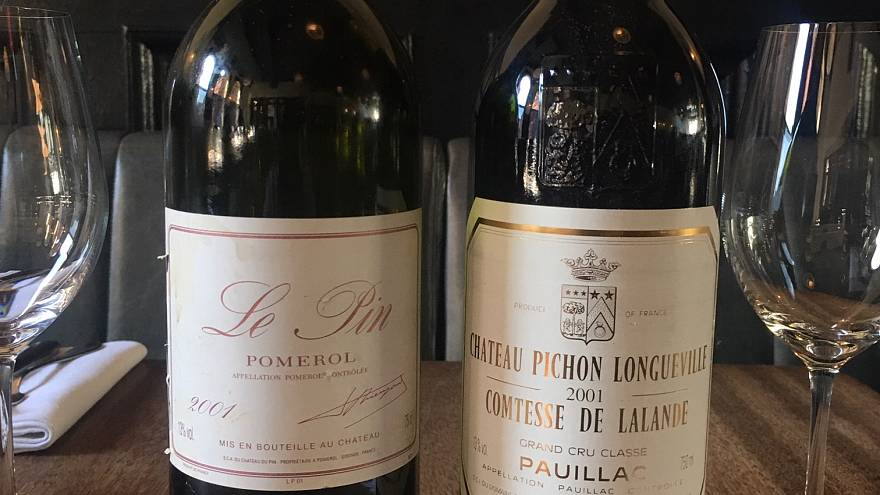 Image: The bottle of Ch?teau Le Pin accidentally served, left, and the inte