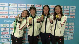 Hong Kong's swimming team breaks Asian Games record