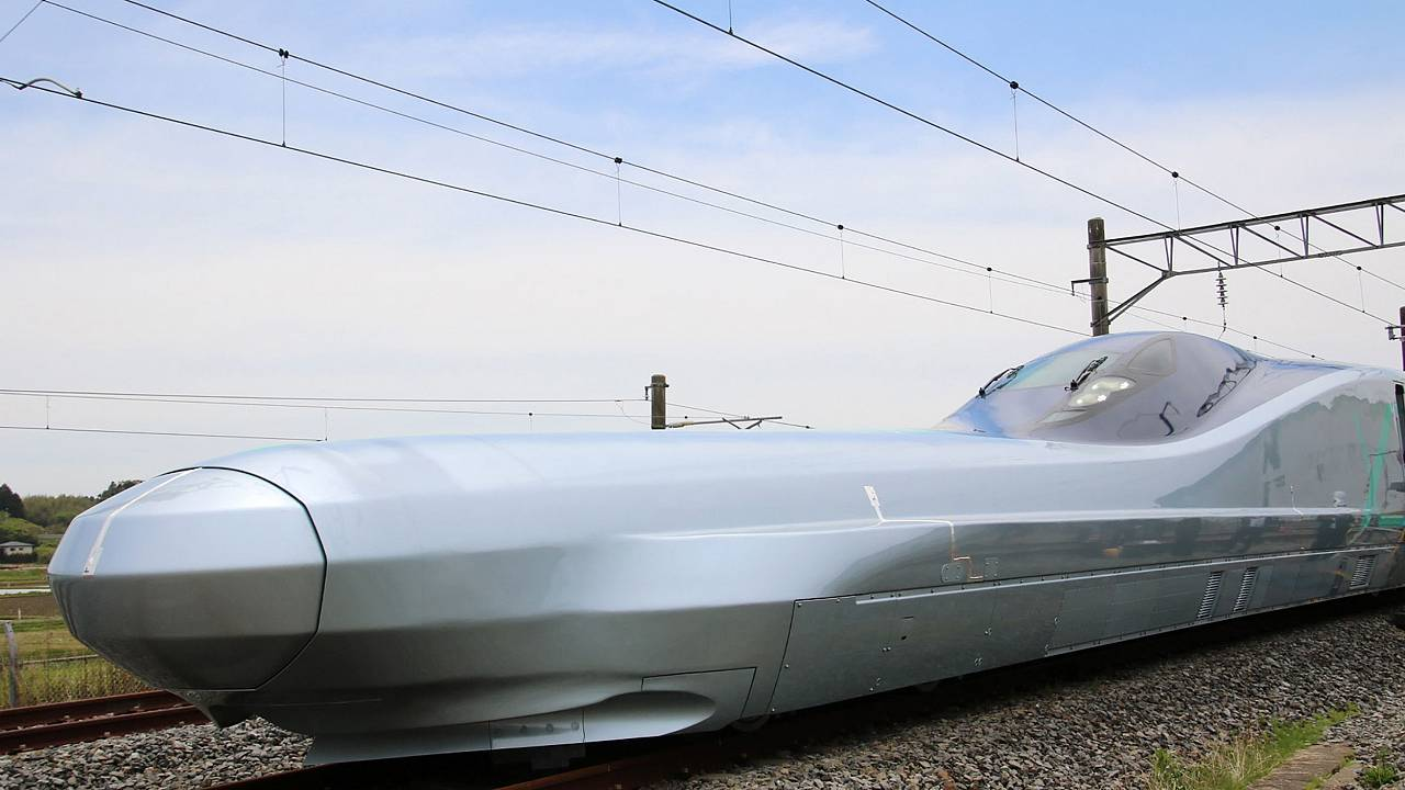 Image: A prototype of Japan's next-generation Shinkansen bullet train, set