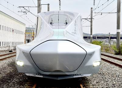 A prototype of Japan\'s next-generation Alfa-X bullet train, set to be the fastest train on wheels when it enters service.