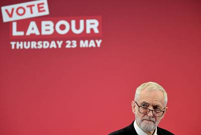 Britain\'s opposition Labour Party leader Jeremy Corbyn speaks at the launch of Labour\'s European election campaign in Kent, Britain, May 9, 2019.