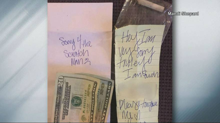 Woman finds $40 and joint taped to her scratched car with apology note