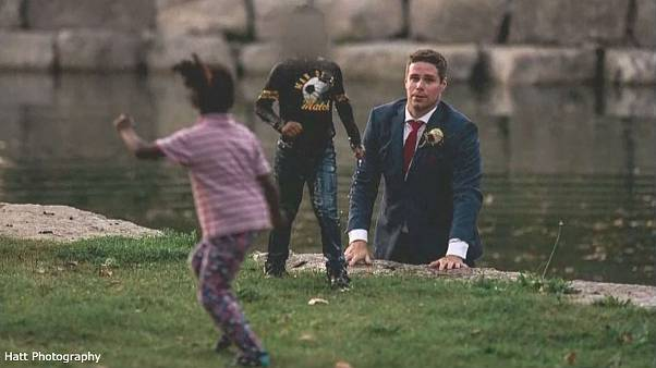 Groom saves boy from drowning during wedding photoshoot