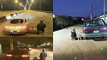 "Nigerians mimic man ""spending quality time with bae Benz"" on Lagos bridge"