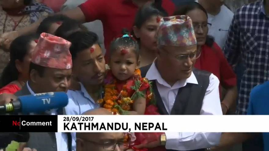 Three-year-old girl becomes Nepal's new living goddess
