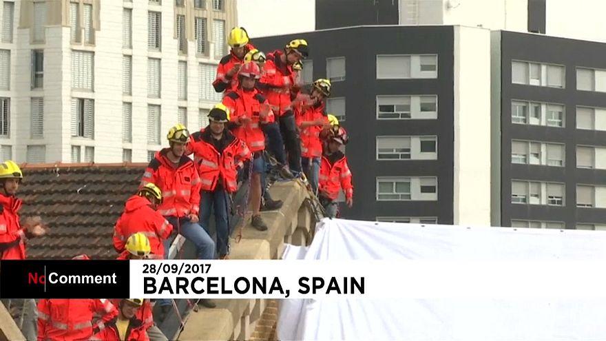 Katalanische Feuerwehrleute für die Unabhängigkeit