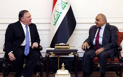 Iraqi Prime Minister Adel Abdul Mahdi during a meeting with Secretary of State Mike Pompeo in Baghdad on May 8.