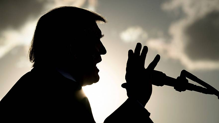 Image: President Donald Trump speaks during a campaign rally in Montoursvil