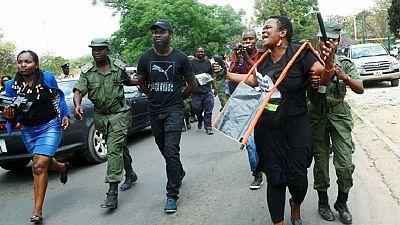 Police and anti-corruption protesters clash outside Zambian parliament